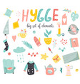 big set of hygge elements in scandinavian style vector image