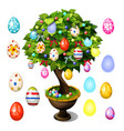 bonsai tree decorated with easter eggs for poster vector image