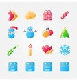 Bright set of christmas icons vector image
