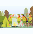 camping scouts campfire in forest and happy kids vector image
