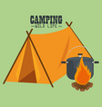 camping wild life with tent vector image