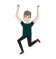 cheerful jumping man avatar vector image