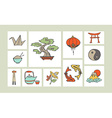 Chinese hand drawn icon set vector image vector image