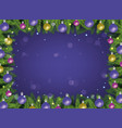 christmas frame on violet with vector image