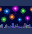 city landscape with fireworks vector image vector image