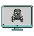computer display with skull virus alert vector image vector image