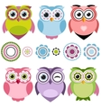 Cute cartoon owls set vector image vector image