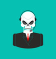 death call center skull with headset skeleton vector image