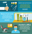 dentist tool banner horizontal set flat style vector image vector image