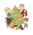 Family decorating a Christmas tree vector image vector image
