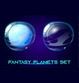 fantasy space planets set for ui galaxy game vector image vector image