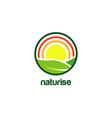 farm nature sun rise logo design vector image vector image