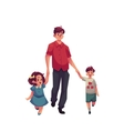 Father with daughter and son walking together vector image vector image