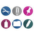 Flat office supply icons vector image vector image