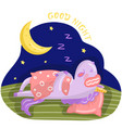 funny cartoon unicorn character sleeping on the vector image vector image