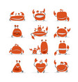 funny crabs set sketch for your design vector image vector image