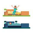 girl in morning and night sits or lies in bed vector image