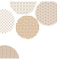 golden circles with geometric patterns on white vector image vector image