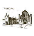 historical old building facade in verona of a vector image