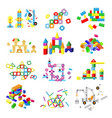 kids building blocks baby toy colorful vector image