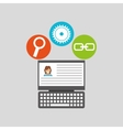 laptop profile technology social media concept vector image vector image