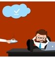 Lucky businessman is relaxing at work place vector image vector image