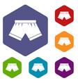 male underwear icons set hexagon vector image vector image