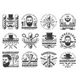 man with beard moustache and barbershop tools vector image vector image