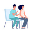 medical check up woman and doctor female vector image vector image