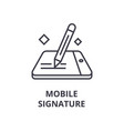 mobile signature line icon outline sign linear vector image