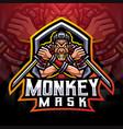 monkey mask ninja esport mascot logo vector image vector image