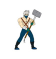 Ninja Masked Warrior Sledgehammer Cartoon vector image vector image