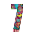Number 7 with hand drawn abstract doodle pattern vector image vector image