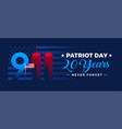 patriot day 20 years banner - 9-11 with us flag vector image vector image