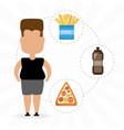 person fat for eat fast food vector image vector image