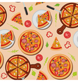 Pizza Seamless Pattern with Ingredients vector image vector image
