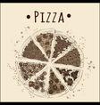 pizza sepia vector image