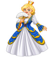 Queen wearing blue gown vector image vector image