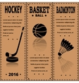 Retro Sport Card Sports items on kraft paper vector image vector image