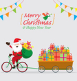 santa claus cycling bicycles with gift in cart vector image