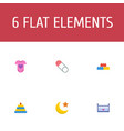 set of infant icons flat style symbols with moon vector image