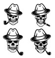 set of skulls of smokers design elements for logo vector image vector image