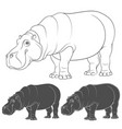 set of with a hippopotamus vector image vector image