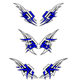 set wings tattoos in celtic style vector image vector image