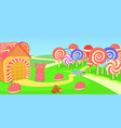 sweets horizontal banner candies cartoon style vector image vector image