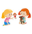 two girls playing doll and teddy bear vector image
