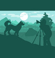walking dog in forest mountain camp vector image vector image
