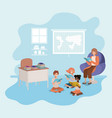 woman reading book in the sofa with kids vector image vector image