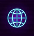 world globe neon sign vector image vector image