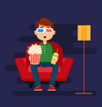 young man sitting in comfortable armchair at home vector image vector image